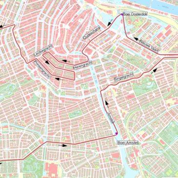 Sloeproeiers Hattem-Zwolle in hartje Amsterdam
